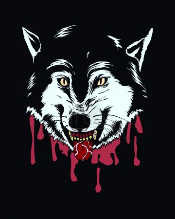Illustration for Vector illustration of wolf head, with blood background - Royalty Free Image