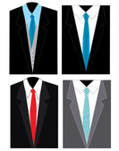 4 different men suites with tie on
