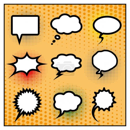 Illustration for Blank comic speech bubbles set. pop art style background. vector. eps10 - Royalty Free Image