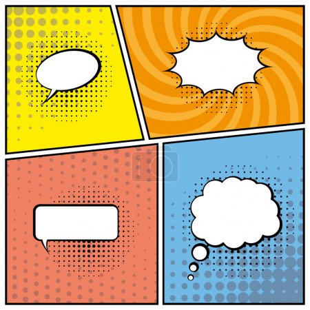 Illustration for Blank comic speech bubbles in pop art style background. vector eps10 - Royalty Free Image
