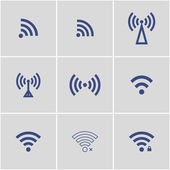 Wireless wifi icons blue vector set eps8