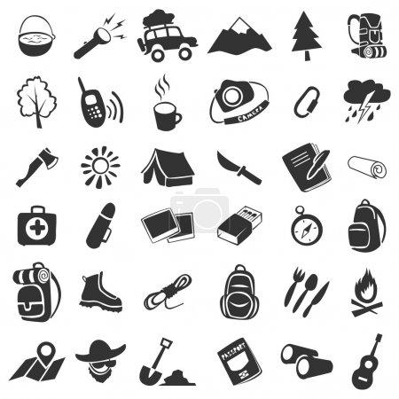 Illustration pour Ensemble vectoriel de 36 éléments icônes camping - image libre de droit