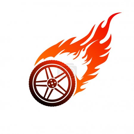 Red and orange burning car wheel