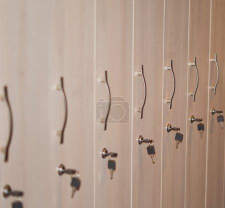 Row of storage lockers