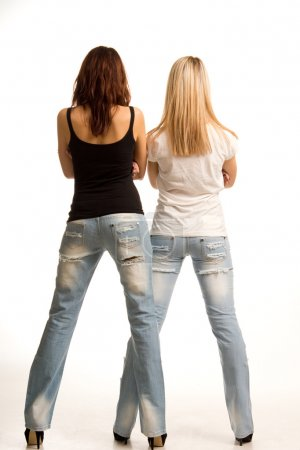 Back view of two sexy girls