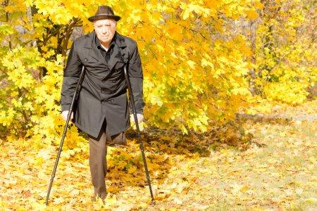Photo pour Laisse handicapée âgée amputé mâle dans un parc de la chute en vous promenant sur ses béquilles entouré d'automne jaune coloré - image libre de droit