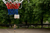 Colorful red, white and blue basketball net