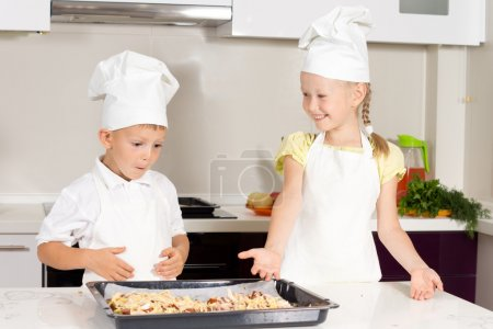 Cute Little Kids Made Pizza on White Table