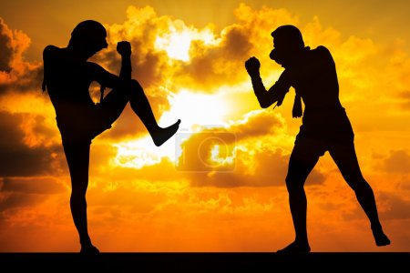 Photo for Muay thai, Thai Boxer in sunset background - Royalty Free Image
