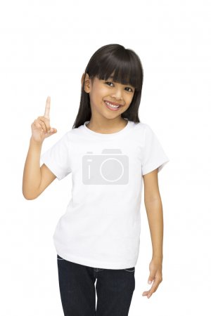 Photo for Asian little girl with index finger up, Isolated over white with clipping - Royalty Free Image