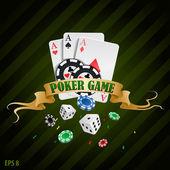 Vettoriale illustrazione poker gioco dazzardo fiches poster. raccolta di poker con fiches, dadi, carte
