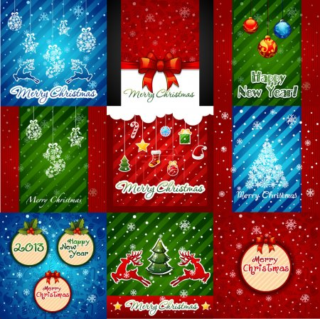 Set of Christmas Greeting Cards. Merry Christmas lettering