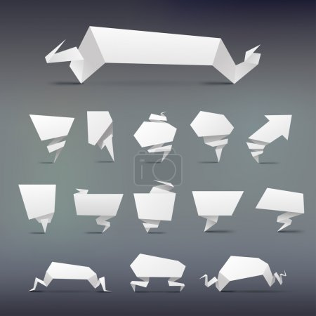 Illustration for Set of Abstract white origami banners design element - Royalty Free Image