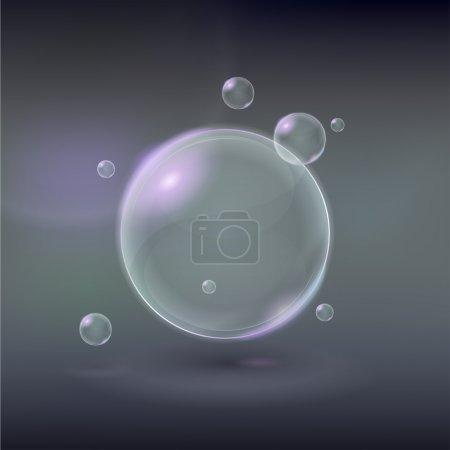 Illustration pour Bulles vectorielles de savon transparentes sur fond gris - image libre de droit
