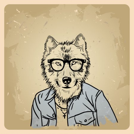 Wolf hipster in a jacket