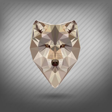 Abstract triangle polygonal wolf snout origami animal style