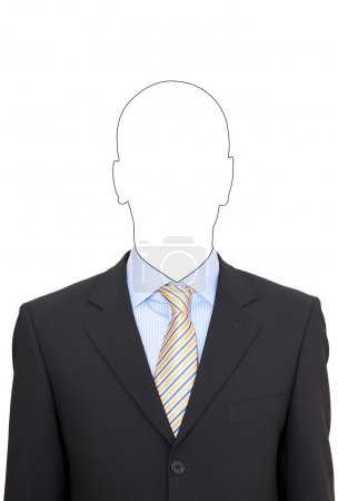 Portrait of a faceless business man in suit