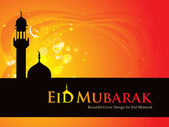 Beautiful Eid Mubarak Card Design with Nice Mosque and colorful Background, Eps 10