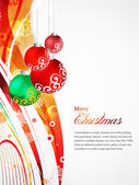 Beautiful Christmas Card, Sparkling flyer with colorful background Vector illustration. bells, snowflakes, stars, Eps 10