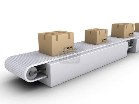 Photo pour Boîtes en carton 3D sur convoyeur dans un entrepôt - image libre de droit