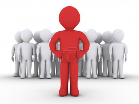 Photo pour 3D personnes dans un groupe et leur chef de file en face d'eux - image libre de droit
