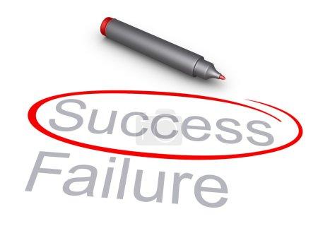 Photo pour Mot de la réussite est encerclé plutôt que le mot échec et un marqueur - image libre de droit