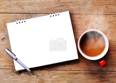 Photo for Hot coffee with note on old wood background - Royalty Free Image