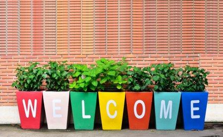 Photo pour Coloré de l'accueil avec fond brique - image libre de droit