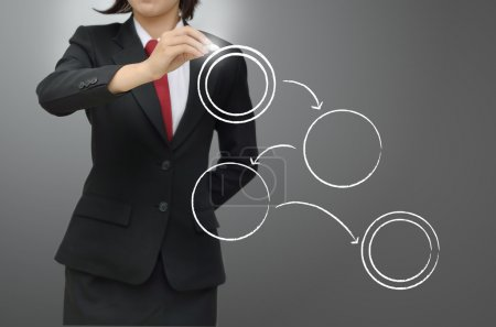 Businesswoman writing workflow diagram