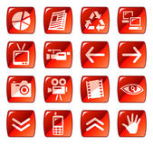 Vector set of web icons buttons Red series 4