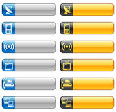 Vector set of banner buttons with telecom icons