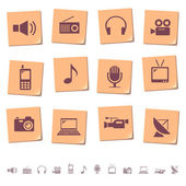 Multimedia and telecom icons on memo notes