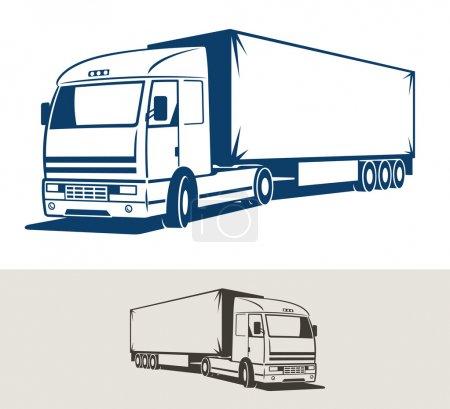 Illustration pour Camion avec semi-remorque. Illustration vectorielle - image libre de droit