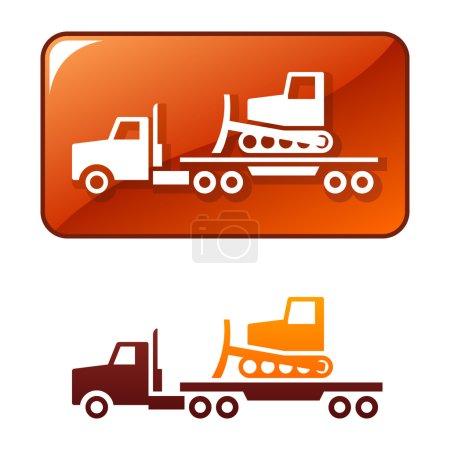 Illustration pour Camion transportant le bulldozer. Icône vectorielle - image libre de droit