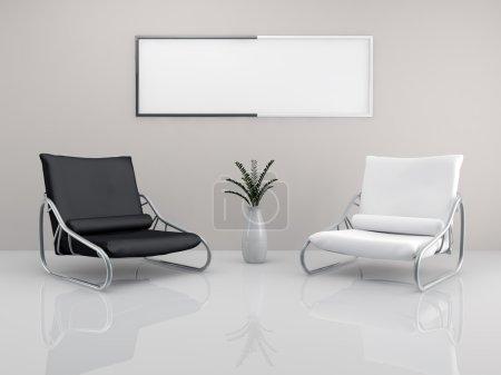 Foto de Una sala con un sillón blanco y negro minimalista dos y un marco de imagen - Imagen libre de derechos
