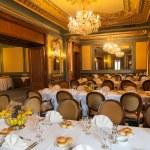 Elegant decorated wedding reception hall ready for...
