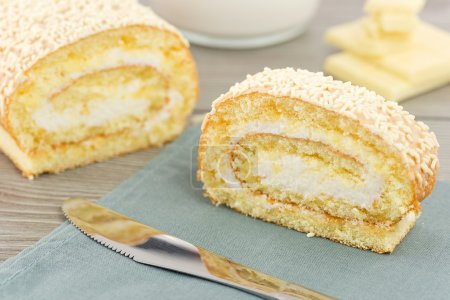 Roll with cream milk and white chocolate