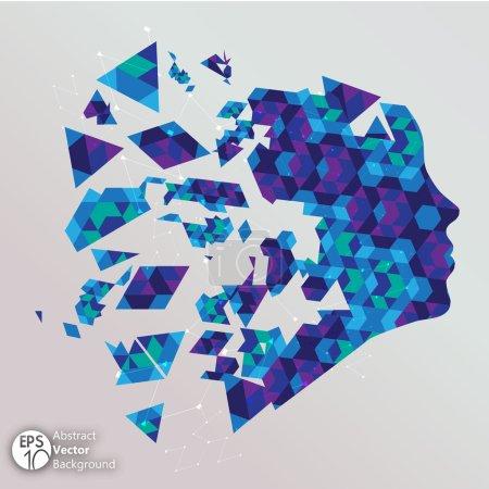 Blue shattered face Illustration