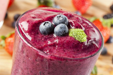 Photo for Organic Blueberry Smoothy made with fresh ingredients - Royalty Free Image
