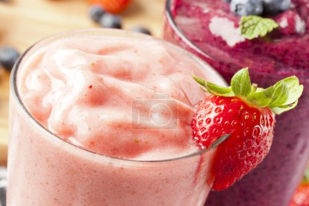Photo for Organic Strawberry Smoothie made with fresh Ingredients - Royalty Free Image