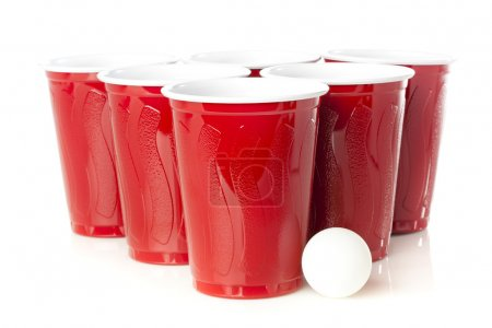 Photo for Red Beer Pong Cups ready to play a game - Royalty Free Image