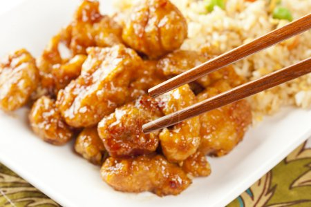 Photo for Homemade Orange Chicken with Rice on a background - Royalty Free Image