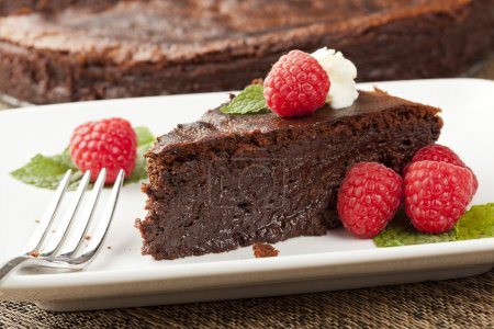 Photo for Homemade Chocolate Cake with raspberry and mint - Royalty Free Image