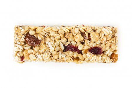 Photo for Organic Almond and Raisin Granola Bar on a background - Royalty Free Image