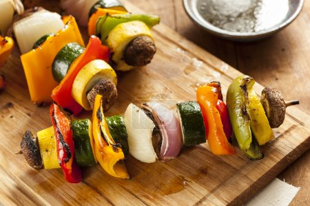 Photo for Organic Grilled Vegetable shish Kebab with peppers, mushrooms, and onions - Royalty Free Image