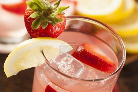 Photo for Refreshing Ice Cold Strawberry Lemonade on a background - Royalty Free Image