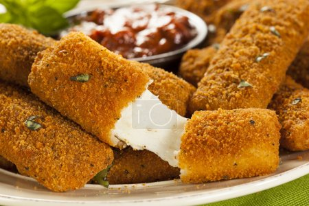 Photo for Homemade Fried Mozzarella Sticks with Marinara Sauce - Royalty Free Image