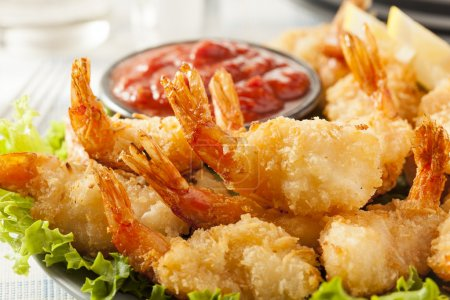 Photo for Fried Organic Coconut Shrimp with Cocktail Sauce - Royalty Free Image