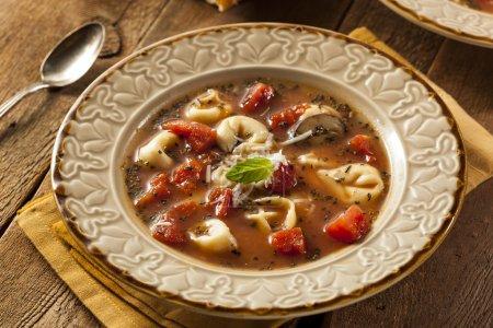 Photo pour Soupe de tortellini maison rustique aux tomates, basilic et épinards - image libre de droit