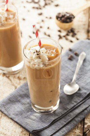 Photo for Fancy Iced Coffee with Cream in a Glass - Royalty Free Image